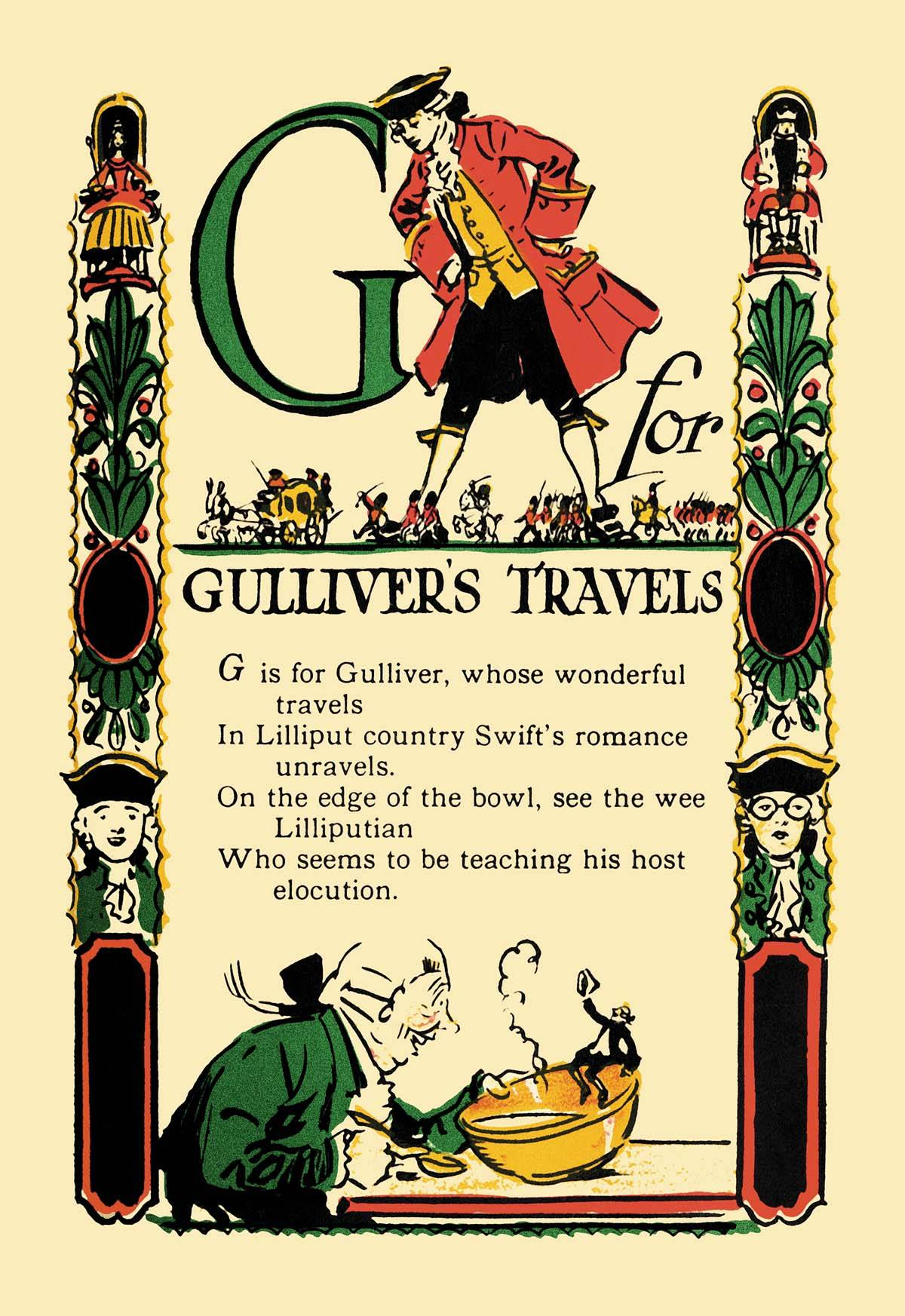 Old Book Cover Posters : G for gulliver s travels posters and canvas art prints