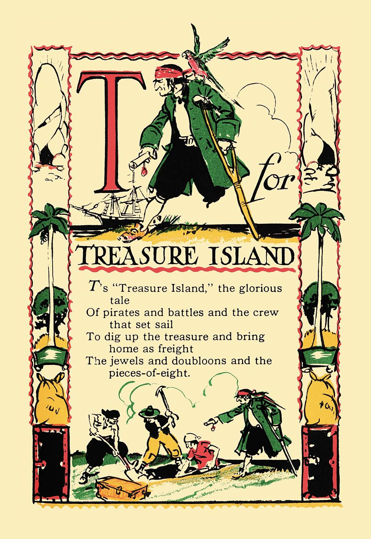 T for Treasure Island Canvas Poster print
