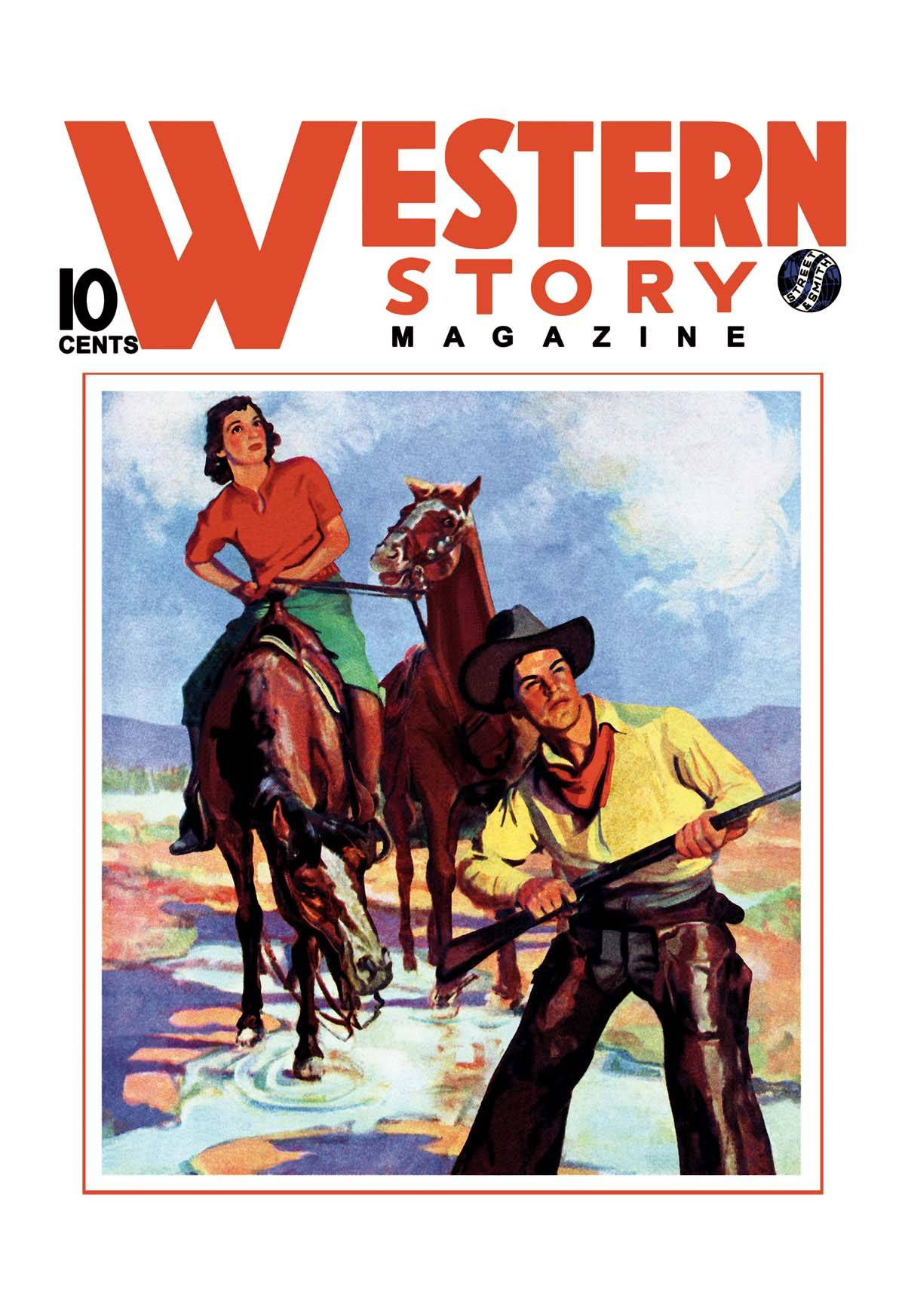 Book Cover Art Canvas : Western story magazine pair posters and canvas