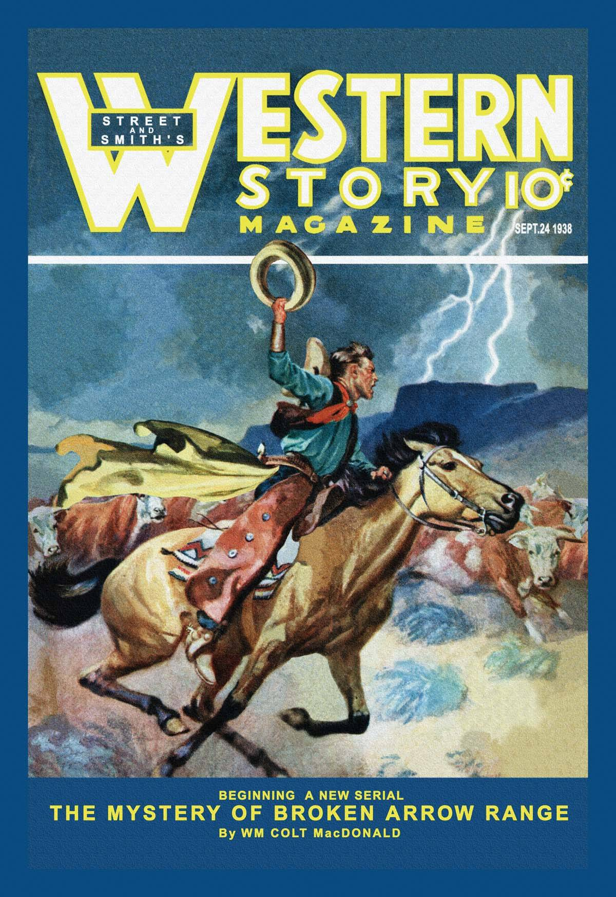 Western Book Cover Art : Western story magazine broken arrow range posters and